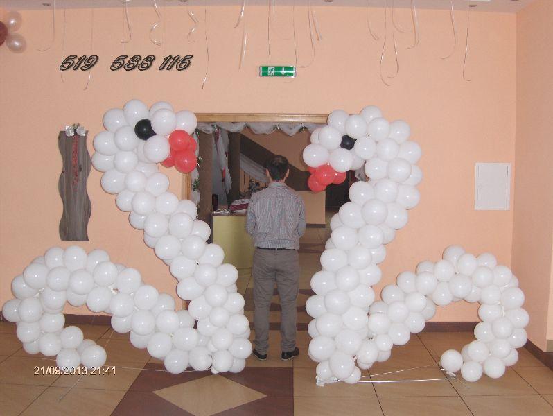 Dekoracje z balonów łabędzie