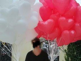 Balony z helem biało czerwone serca